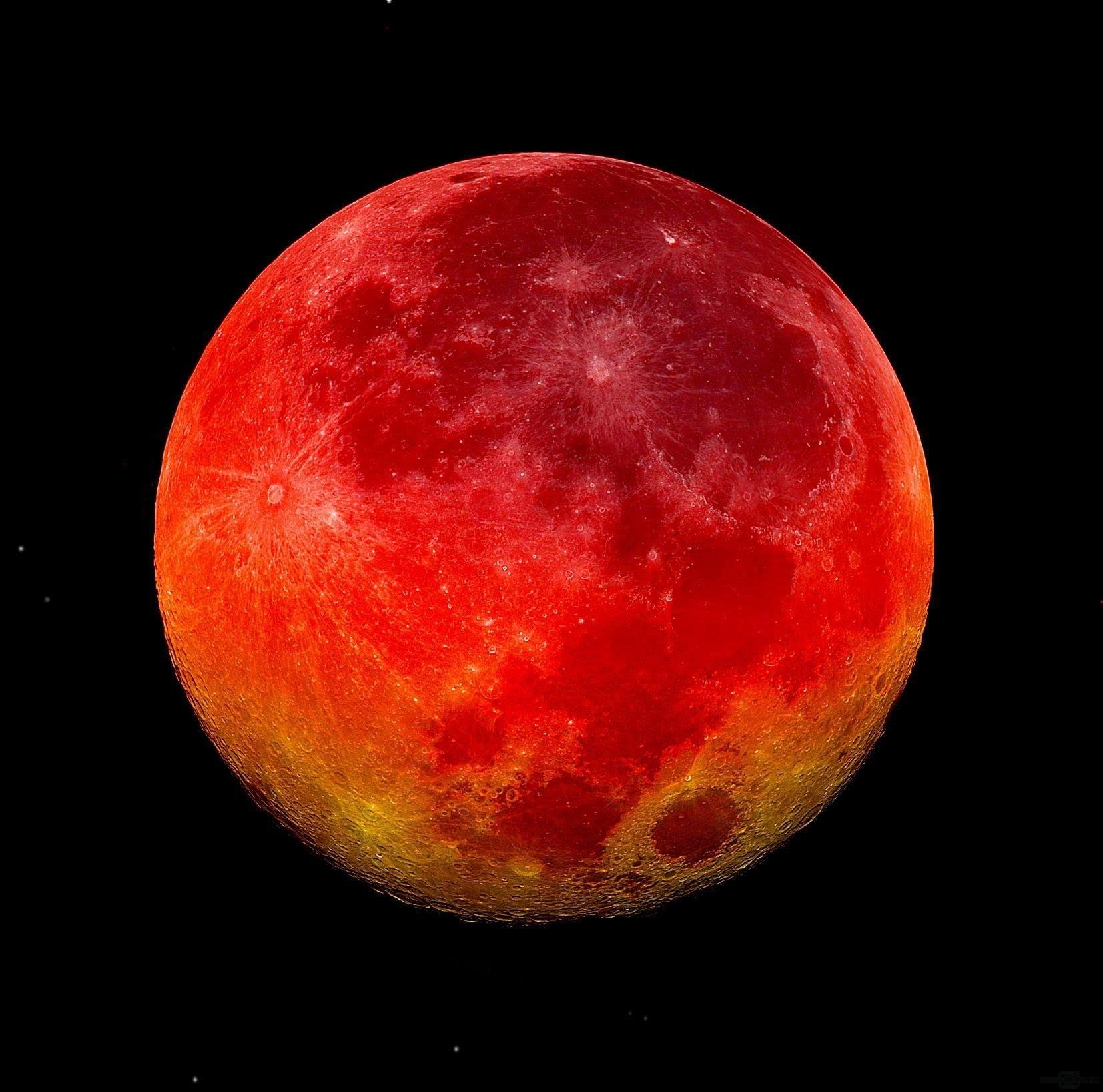 血红色的月亮,是因为月球进入没有太阳光直射的本影